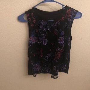 Tops - Black sleeveless floral top